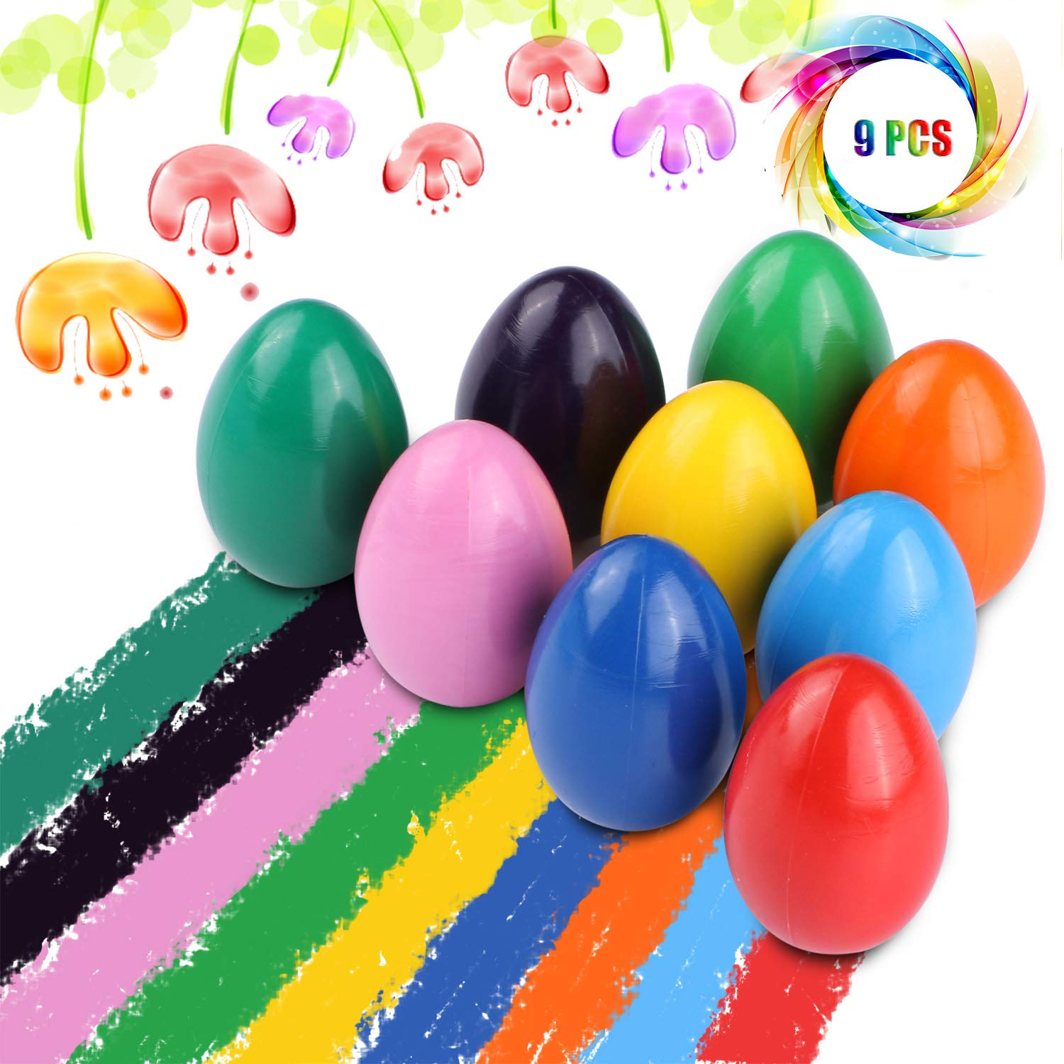 Crayons for Toddlers, Palm Grip Crayons Set 9 Colors Non Toxic Crayons Washable Paint Crayons Stackable Toys for Kids Infants, Baby,Children,Boys and Girls(egg-shaped) by Tencoz