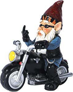 Garden Gnome Riding Motorcycle Statue Funny Outdoor Statue Fairy Outdoor Gnome Decorations, Naughty Garden Figurines for Lawn Patio Yard Decor (Small)