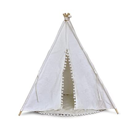 LUVE Dog Teepee Tent House Indian Wood Canvas Portable Fold Away Pet Tent  Furniture Cat Bed