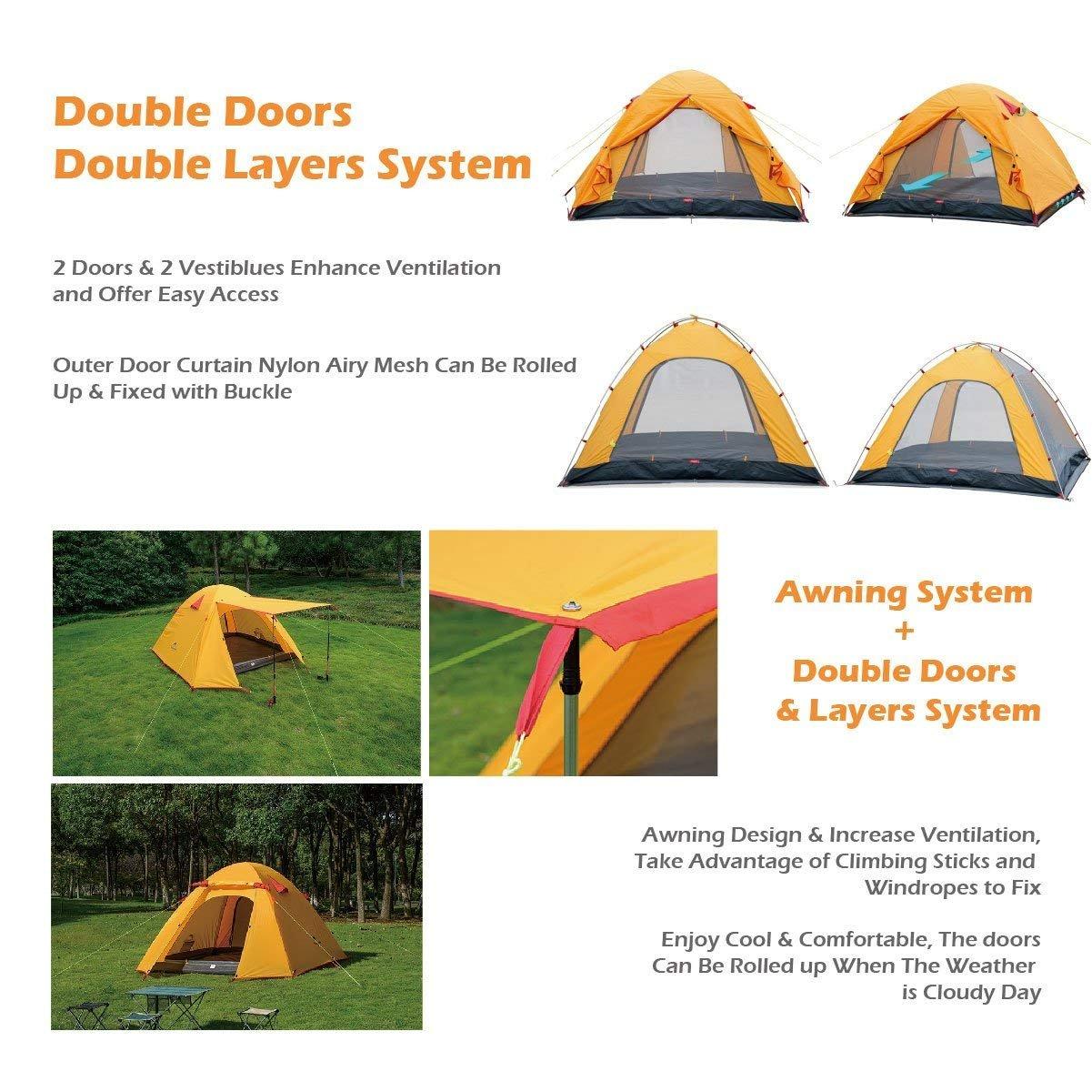 3 Saison Wasserdicht Zelt Double Layer f/ür Outdoor Camping Wandern Azarxis 1-4 Personen Ultraleicht Zelt