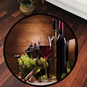 Round Area Rug Wine Style Floor Kitchen Carpet,Wine,Glasses of Red and White Wine Served with Grapes French Gourmet Tasting Decorative,Brown Ruby Light Green, for Home Decor №AM01258