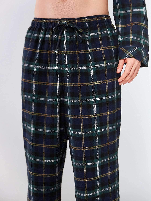 Pantalon de d/étente en Coton Doux /à Carreaux SIORO Bas de Pyjama en Flanelle pour Homme