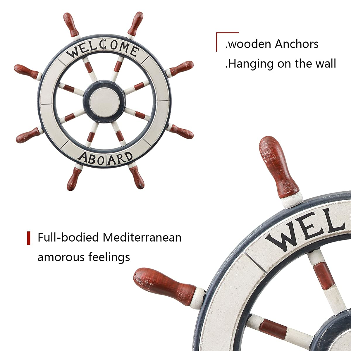 """Adeco 24"""" Wooden Boat Anchor with Crossbar, Steering Wheel, Wall Décor Home Décor (Wooden Ship Boat Steering Wheel)"""