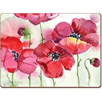 4 Cala Home Premium Hardboard Placemats Table Mats Fresh Poppies