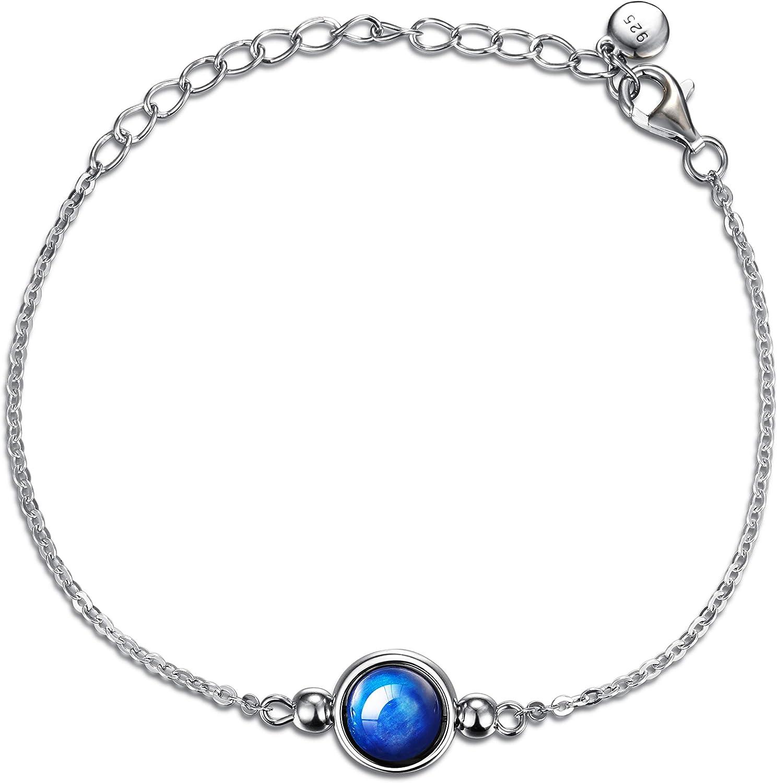 Dalwa - Pulsera de plata de ley 925 para mujer con colgante de piedra natural aguamarina Kyanita, cadena chapada en oro blanco, regalo ideal para mujeres, incluye caja de regalo