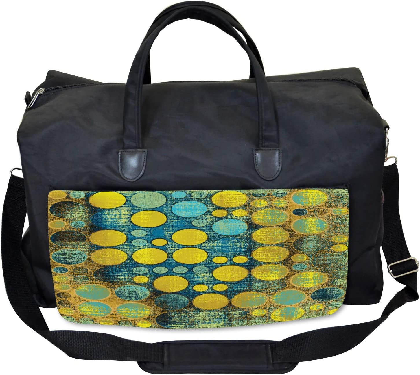 Groovy Polka Dots 60s Large Weekender Carry-on Ambesonne Retro Gym Bag