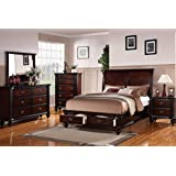 5 Pc Alisha Collection Cherry Finish Wood Queen Curved Back Headboard  Platform Bed Set With Storage