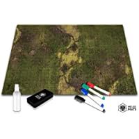 """Battle Grid Game Mat - 24""""x36"""" Table Top Role Playing Map - DND Role Play - RPG Dungeons and Dragons Maps Tiles - Reusable Miniature Figure Board Games - Tabletop Gaming Mats (Dark Moss)"""