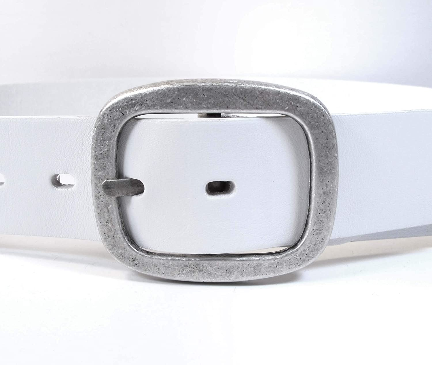 Mens Real Genuine Leather White Belt 1.5 Wide S-XL Thick Long Casual Jeans CM2