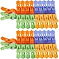 Foshine ClothesPins 40 Pack Clothes Clips for Drying Clothing Clips Blue Yellow Green Orange Colored Laundry Clips Clothespins Plastic Pegs Windproof Photo Paper Pegs Craft Clips Painting Display