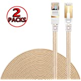 Ethernet Cable Cat 7 DanYee Flat High Speed Nylon LAN Network Patch Cable Gold Plated Plug STP Wires CAT 7 RJ45 Ethernet Cable 0.5M 1M 2M 3M 5M 8M 10M 15M 20M 30M(Gold-0.5m(2packs))