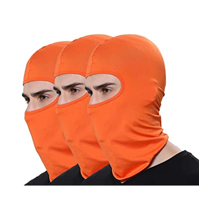 Pack of 3 Winter Outdoor Sport Orange Ski Mask Hunting Fishing Motorcycle Masks Ventilation Sun Balaclava Thin Face Mask: Automotive