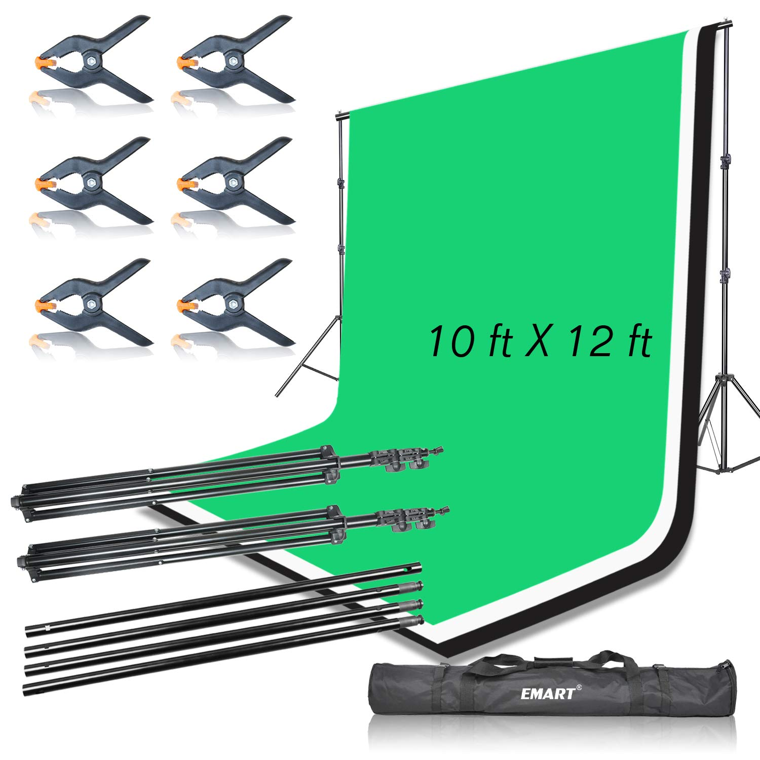 Emart Portable Photo Studio 9.2x10ft Background Support System with 3 Color Muslin Backdrops (Green Black White, 10ft X 12ft) for Portrait, Product Photography and Video Shooting by EMART