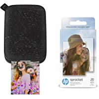 $54 » HP Sprocket Portable Photo Printer 2nd Edition (Noir) & Sprocket Photo Paper, Sticky-Backed…