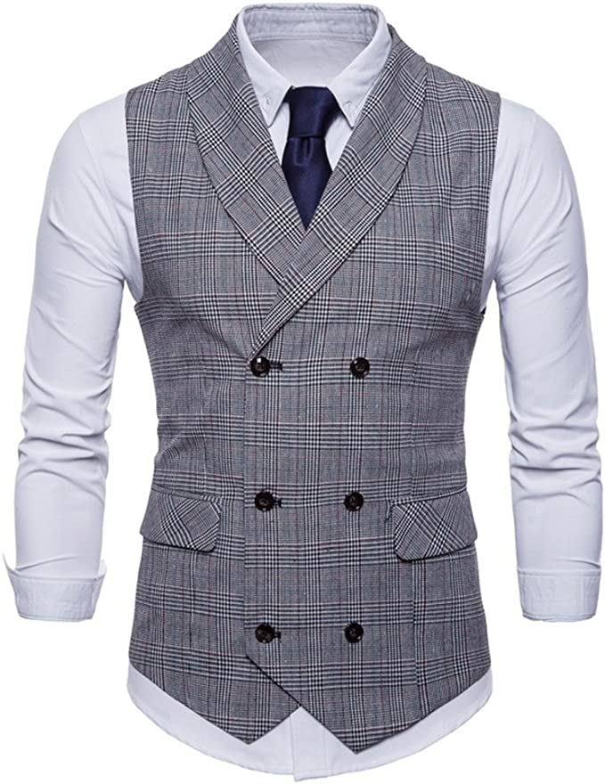 1920s Style Mens Vests FULIER Men Slim Fit V Neck Double Breasted Business Casual Waistcoat Suit Vest Formal Wedding £22.99 AT vintagedancer.com