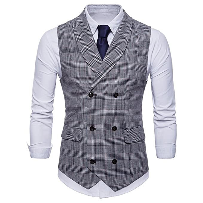FULIER Men Slim Fit V Neck Double Breasted Business Casual Waistcoat Suit Vest