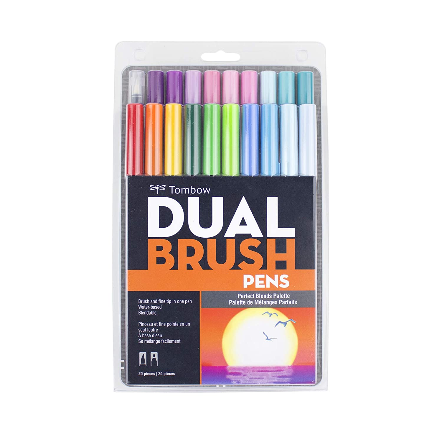 Tombow 56187 Dual Brush Pen Art Markers Pastel Brush and Fine Tip Markers Blendable 10-Pack