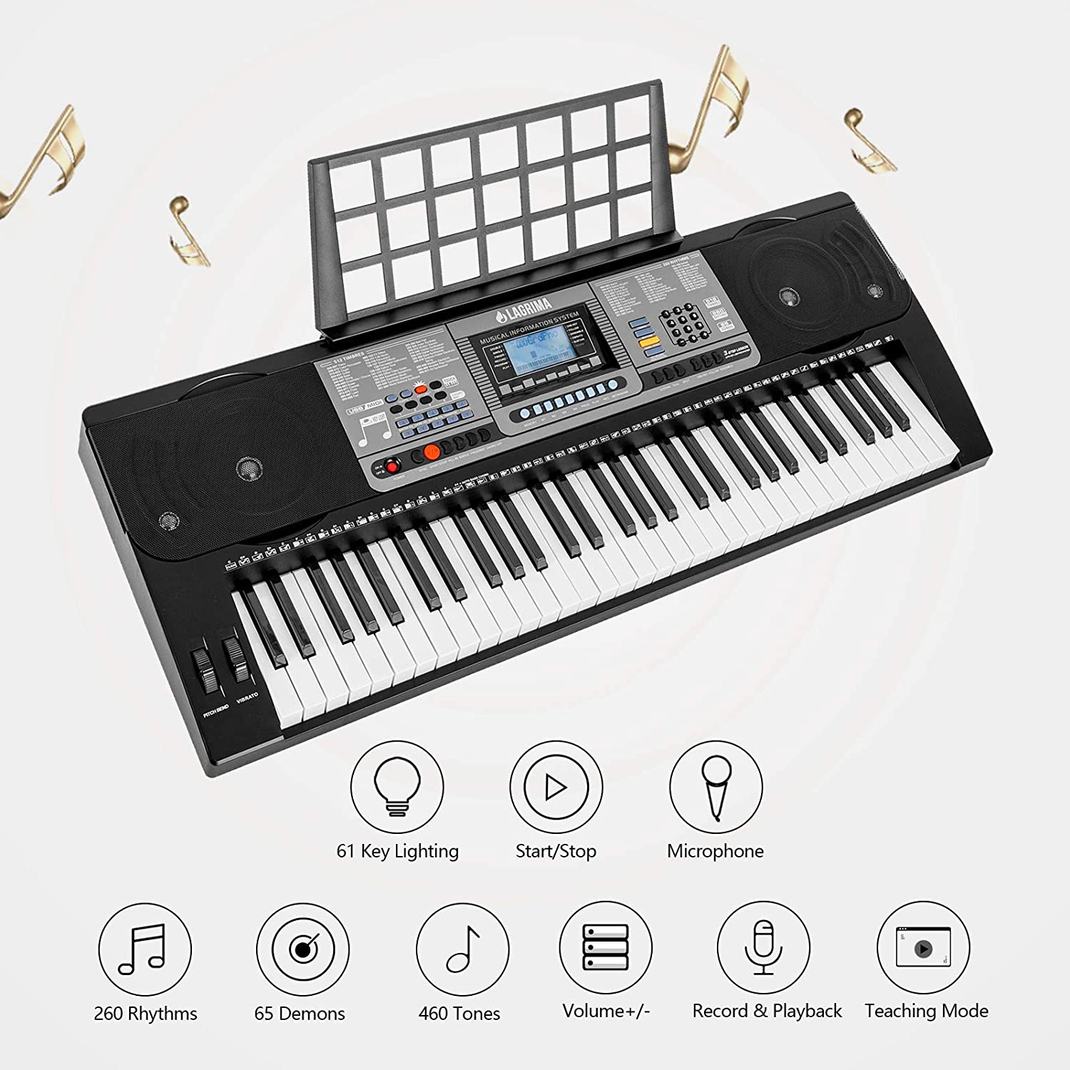 LAGRIMA 61 key Electric Keyboard Piano w/Light up Keys, Lighted Touch  Sensititive & USB-Midi(App) Keyboard for Beginner w/Micphone, Power Supply  and