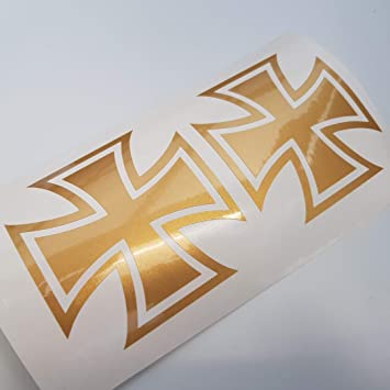Folien Zentrum Eisernes Kreuz Iron Cross Metallic Gold Shocker Hand Auto Aufkleber Jdm Tuning Oem Dub Decal Stickerbomb Bombing Sticker Illest Dapper Fun Oldschool Auto