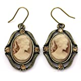 Brown Cameo Dangle Earrings Rhinestones Fashion Jewelry