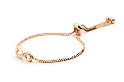 Infinity Eight Fiji Bracelet White Gold Rose Gold Box Chain Slider