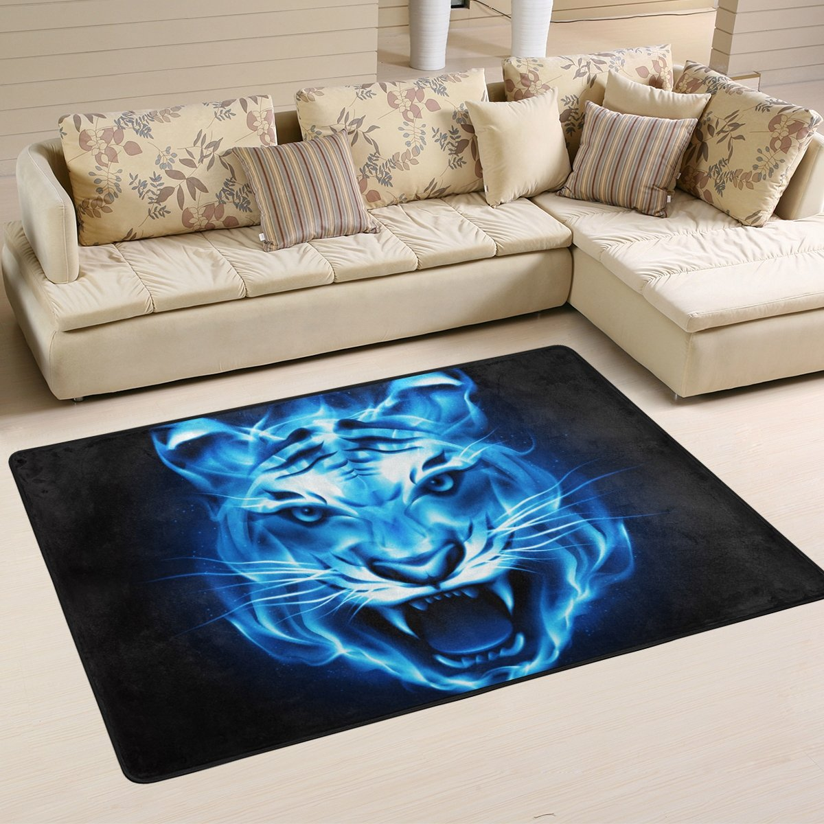 SAVSV 6' x 4' Area Rug Carpet Doormat Lightweight Printed Burning Blue Tiger Head Easy to Clean For Living Room Bedroom