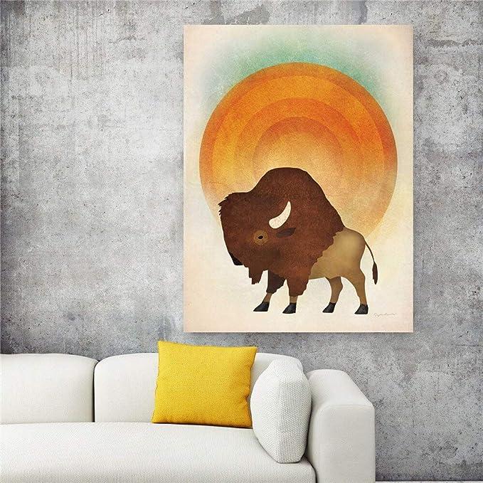 Geiqianjiumai Pintura de Lienzo Oso y Ciervo Caballo Arte de la ...