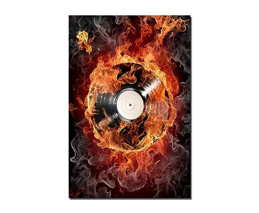 120 x 80 cm - pared de tocadiscos Fuego Humo Música - Lienzo ...