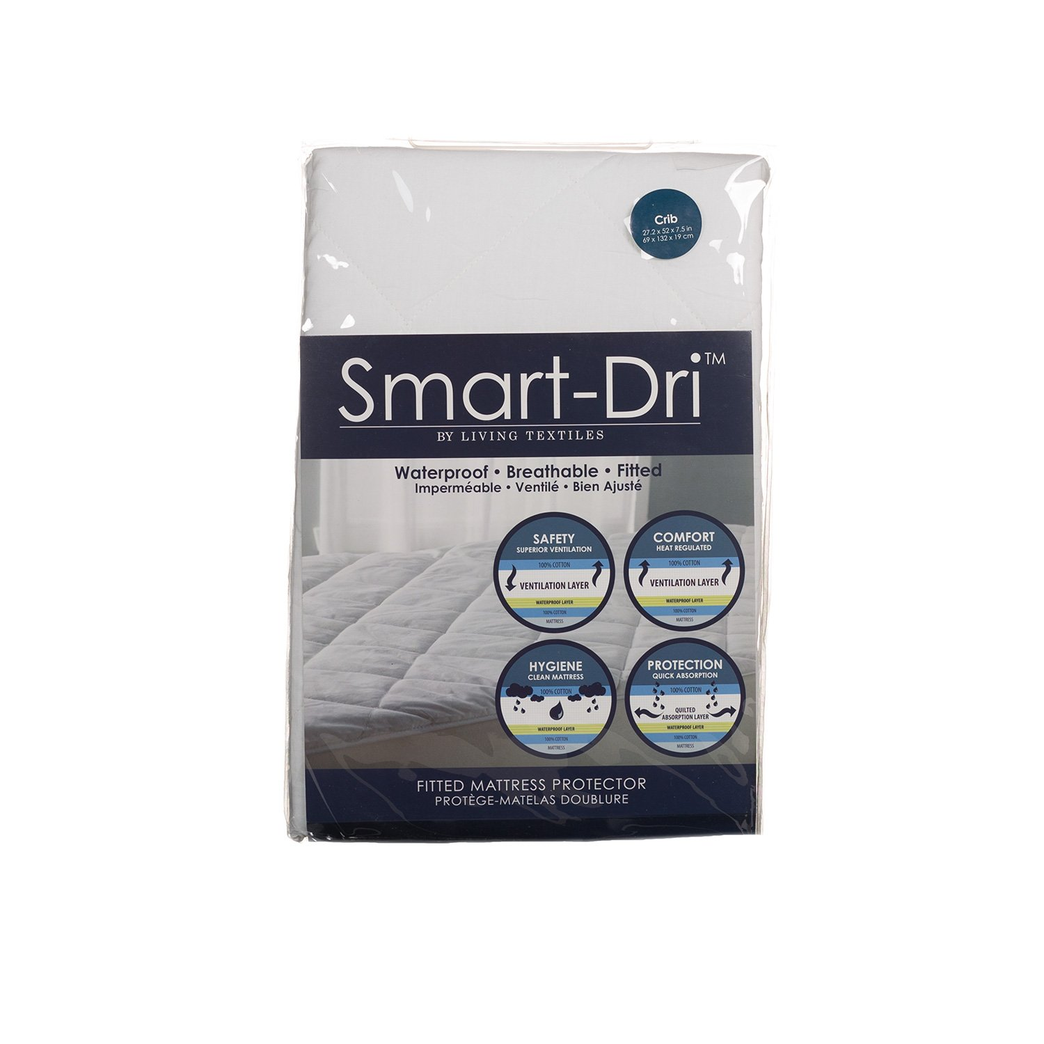 Living Textiles Smart-Dri Waterproof Mattress Protector – Crib – Award Winning Mattress Protector,Cotton Shell, Fully Elasticized, Non-Toxic Polyurethane Lining. Living 63 9910251