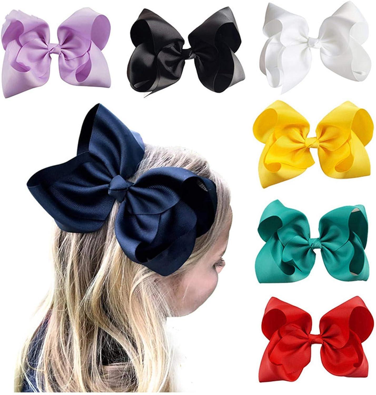 8/'/' Bow Baby Girls Sweet Hair Clip Crystal Hairgrip Grosgrain Ribbon Headwear