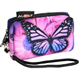 AUPET Purple Butterfly Design Digital Camera Case Bag Pouch Coin Purse with Strap For Sony Samsung Nikon Canon Kodak