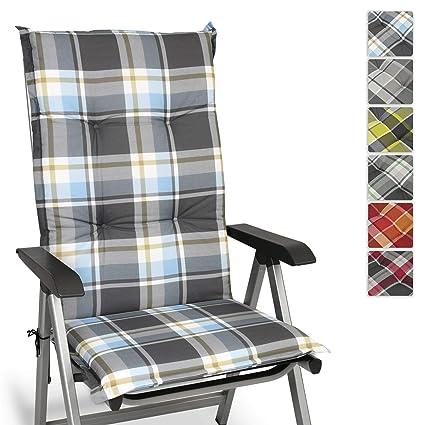 Beautissu Cojín para sillas de Exterior y jardín con Respaldo Alto Sunny BK Azul 120x50x6 cm tumbonas, mecedoras, Asientos cómodo Acolchado ...