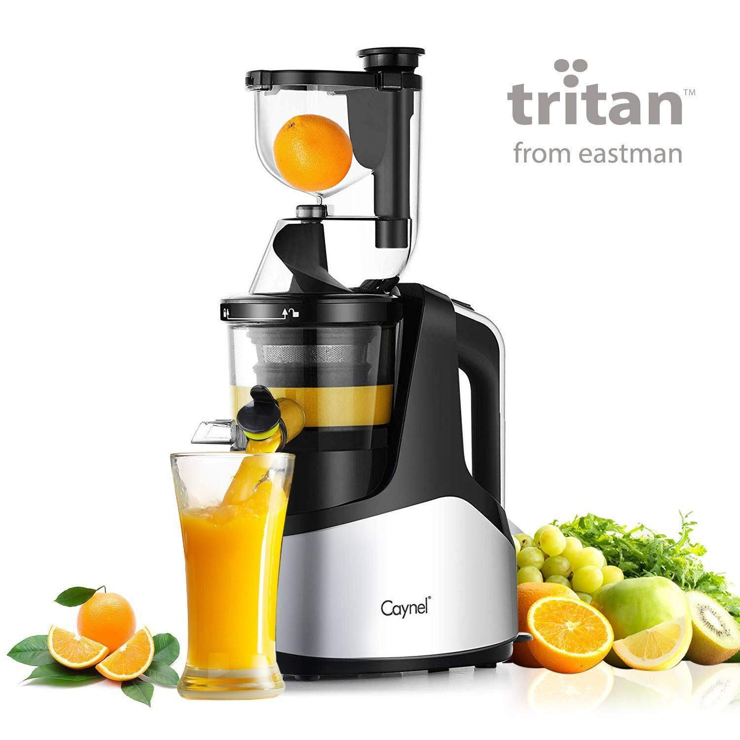 """Caynel Slow Masticating Juicer Cold Press Extractor with 3"""" Wide Chute for Fruits, Vegetables and Herbs, Quiet Durable Motor with Reverse Function, Smoothie Strainer Included, High Yield Vertical Juicer Easy Cleaning , BPA Free, Silver"""