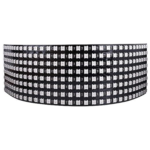 Longruner 8x32 256 Pixels Digital Flexible LED Panel, Built-in WS2812B IC  Individually Addressable LED Light with Full Dream Color Lighting DC5V  LWS03