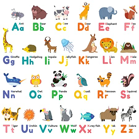 Decowall DW 1614 Colourful Animal Alphabet ABC Kids Wall Stickers Wall  Decals Peel And Stick