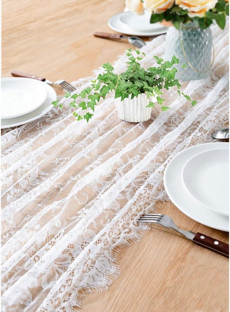 OurWarm chemin de table dentelle blanc et 10pcs noeud chaise d/écoration mariage vintage f/ête anniversaire florale et frange