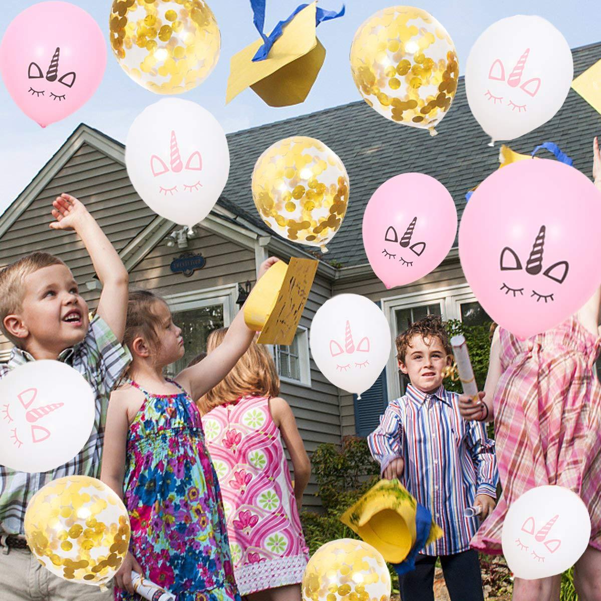 Unicorn Balloons /& Gold Confetti Balloons 15Pcs Unicorn Birthday Party Wedding Baby Shower Decoration EASTiii