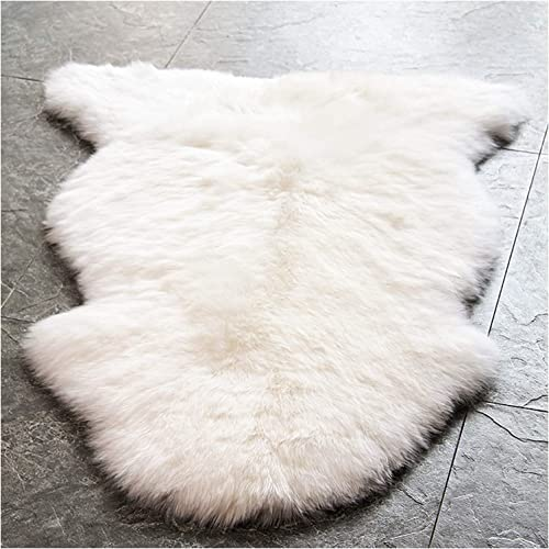 WaySoft Genuine New Zealand Sheepskin Rug, Luxuxry Fur Rug for Bedroom, Fluffy Rug for Living Room Single Pelt, Natural