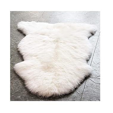 WaySoft Genuine New Zealand Sheepskin Rug, Luxuxry Fur Rug for Bedroom, Fluffy Rug for Living Room (Single Pelt, Natural)