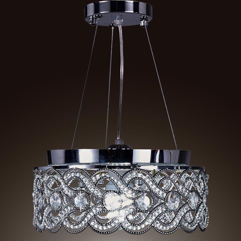 SwanHouse Flush Mount Pendant Ceiling Lighting Chandelier Silver Modern Lamp KPP W15 x H9 by SwanHouse (Image #2)