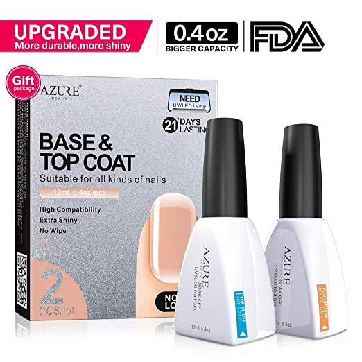 Base Coat No Wipe Top Coat Set (2x12ml)for UV LED Gel Nail Polish LED Nail Lamp 0.4 Ounce Big Capacity by AZUREBEAUTY