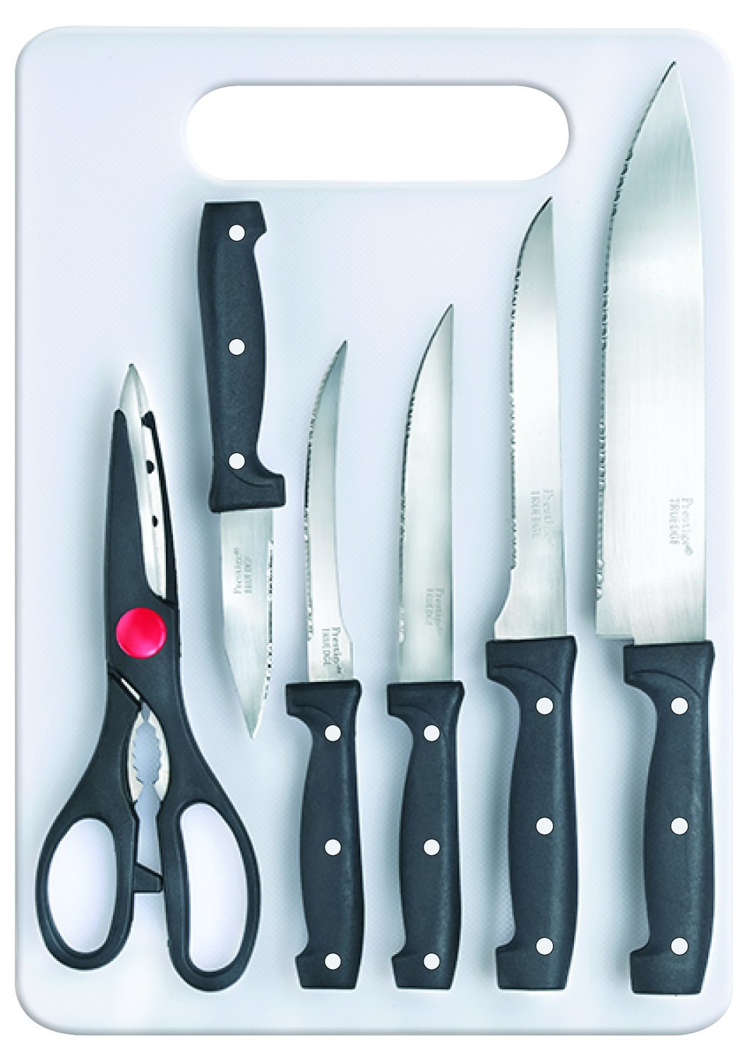 Buy Prestige Tru-Edge Kitchen Knife Board Set, 6-Pieces, Black ...