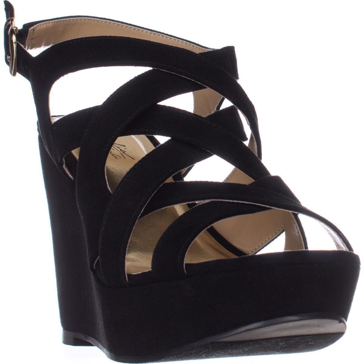 Thalia Sodi Womens MADDORAF Peep Toe Casual Strappy Sandals B07BFHJYBX 7 B(M) US Black
