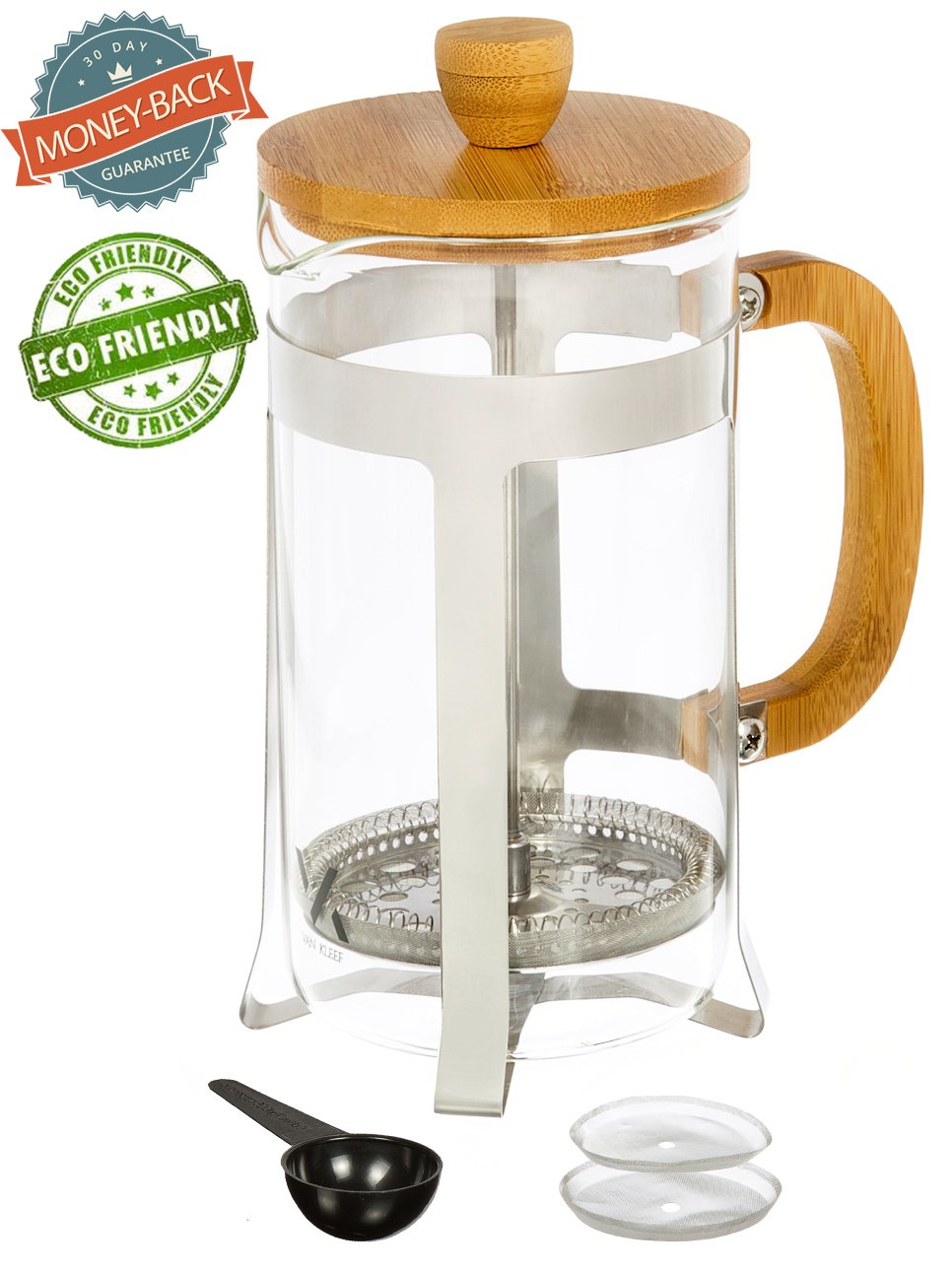 Urban Galley French Press Coffee Espresso Tea Maker with Stainless Steel Plunger, Pyrex Glass and Bamboo Wood (1000ml/34oz.)