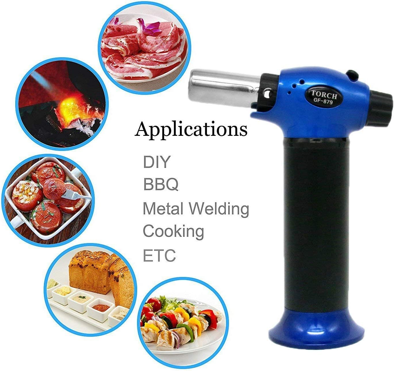 Seafood BBQ and Baking Meat Refillable Kitchen Blow Torch with Safety Lock /& Adjustable Flame for Creme Brulee AMRIU GF-879 Micro Butane Torch Lighter