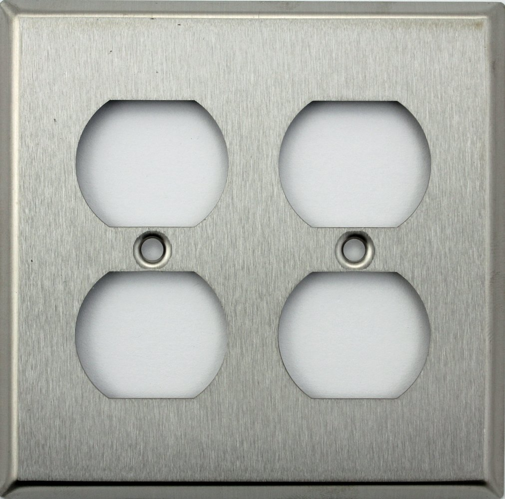 Brushed Satin Stainless Steel 2 Gang Wall Plate - 2 Duplex Outlets
