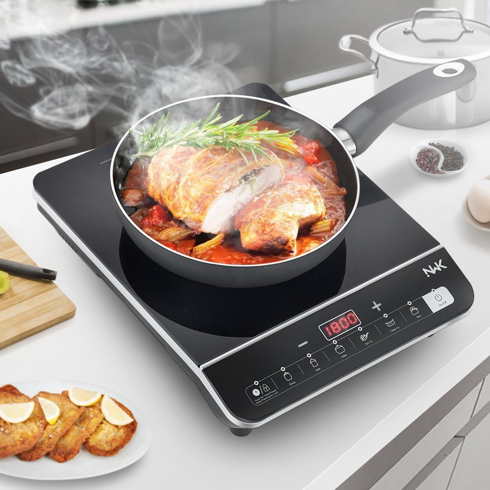 NWK Multifunctional Quick Heat 1800W Preset/Count Down Timer 6 Pre-Programed Induction Cooker Countertop Burner, Black