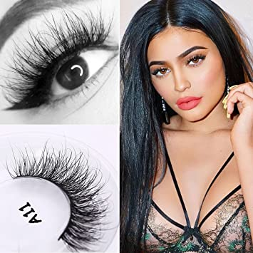 f3533e6d6f3 Amazon.com : Veleasha Lashes 100% Real Mink 3D luxurious False Eyelashes  Hand-made Natural Long Cross False Lashes for Makeup 1 Pair Pack (A11) (No.