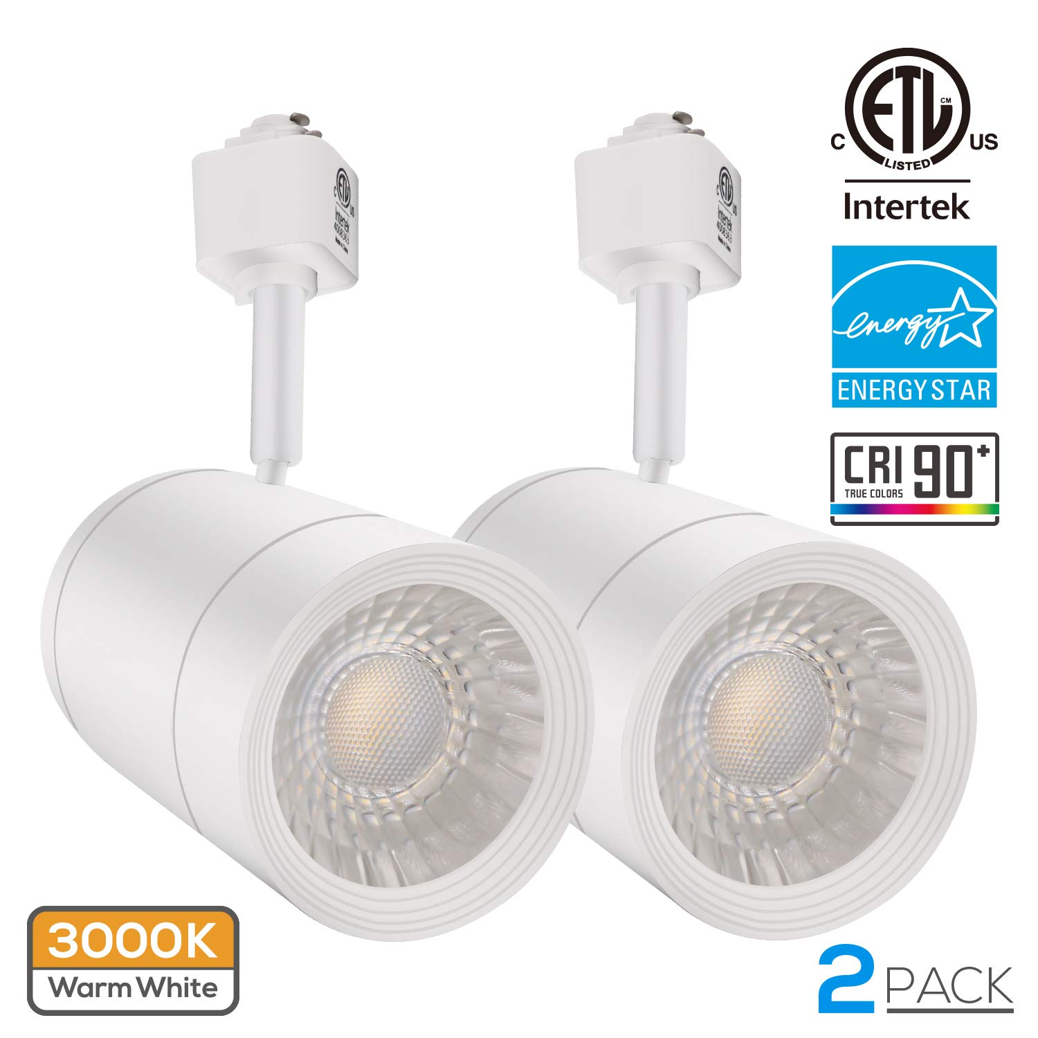 2 PACK 17.5W (85W Equiv.) Integrated CRI90+ LED Track Light Head, Dimmable 38° Spotlight Track Light, 1200lm ENERGY STAR ETL-Listed for Accent Task Wall Art Exhibition Lighting, 3000K Warm White
