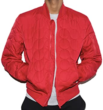 f5d751328 Converse Quilted Bomber Jacket Cherry Red - XL (42-44in): Amazon.co ...